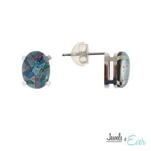 10K Gold Stud Earrings with Genuine Blue Opal